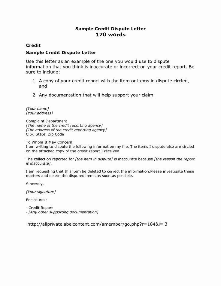 Letter Of Credit Template Elegant Credit Card Dispute Letter Sample Credit Repair Secrets