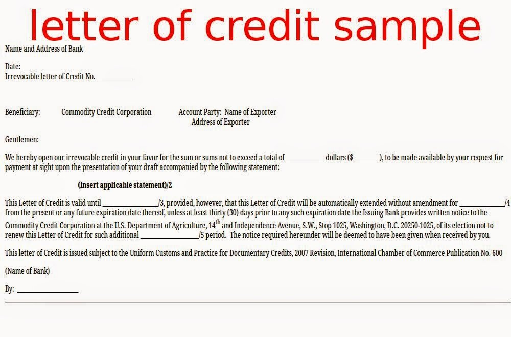Letter Of Credit Template Fresh April 2015 Samples Business Letters