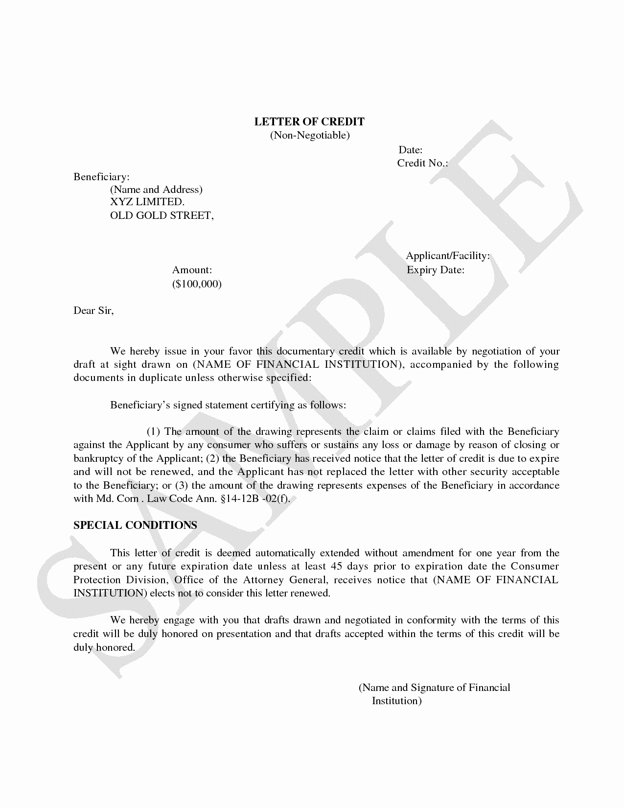 Letter Of Credit Template Luxury Example Letter Credit