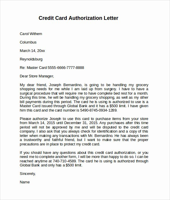 Letter Of Credit Template New 10 Credit Card Authorization Letters to Download