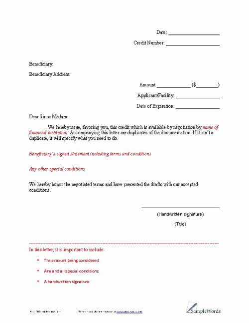 Letter Of Credit Template New Letter Of Credit Example