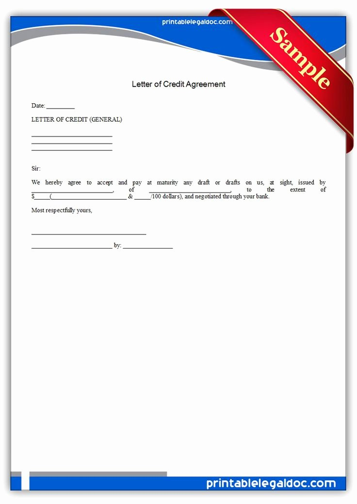 Letter Of Credit Template Unique Printable Letter Of Credit Agreement Template