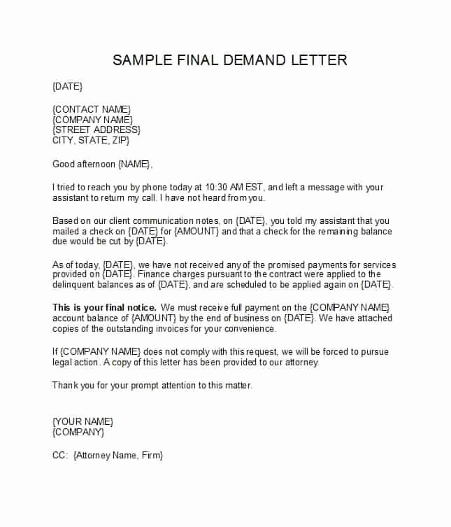Letter Of Demand Template Awesome 40 Best Demand Letter Templates Free Samples Template Lab