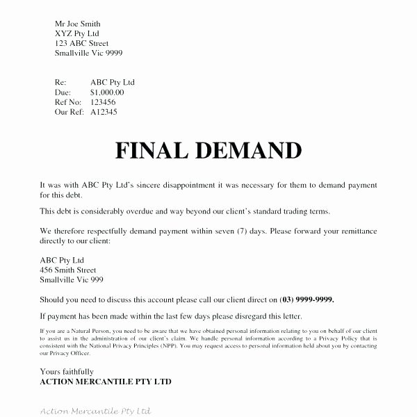 Letter Of Demand Template Awesome Demand for Payment Letter Template Free