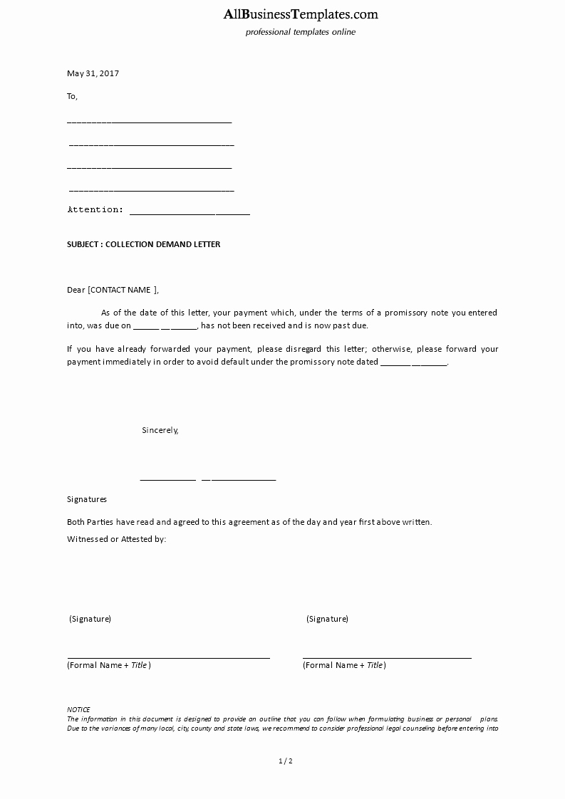 Letter Of Demand Template Best Of Collection Demand Letter Template