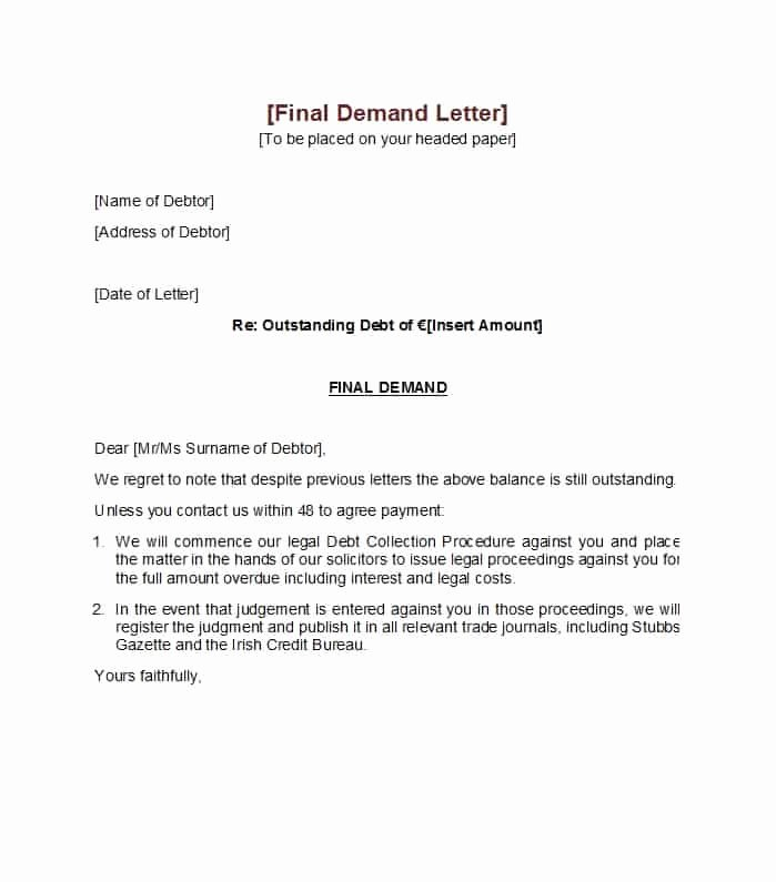 Letter Of Demand Template New 40 Best Demand Letter Templates Free Samples Template Lab