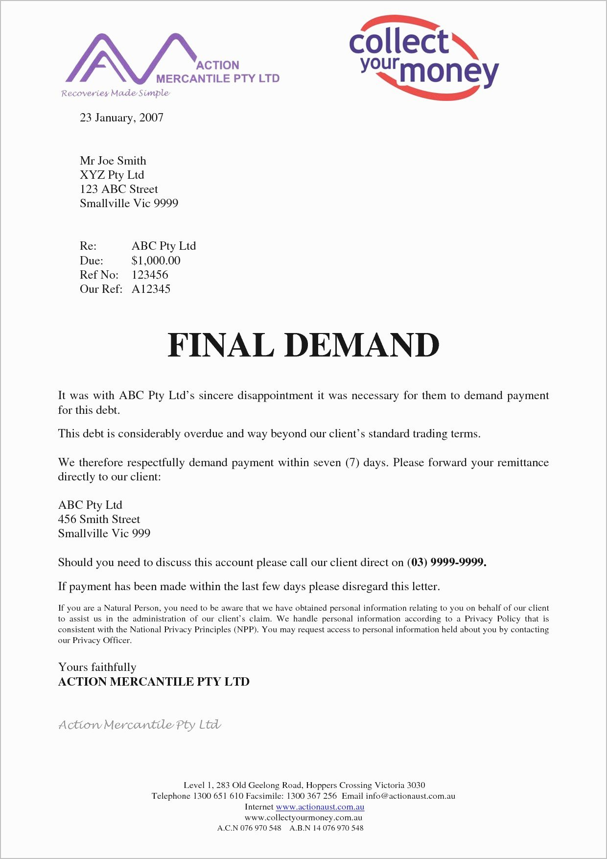 Letter Of Demand Template New Final Demand for Payment Letter Template Examples