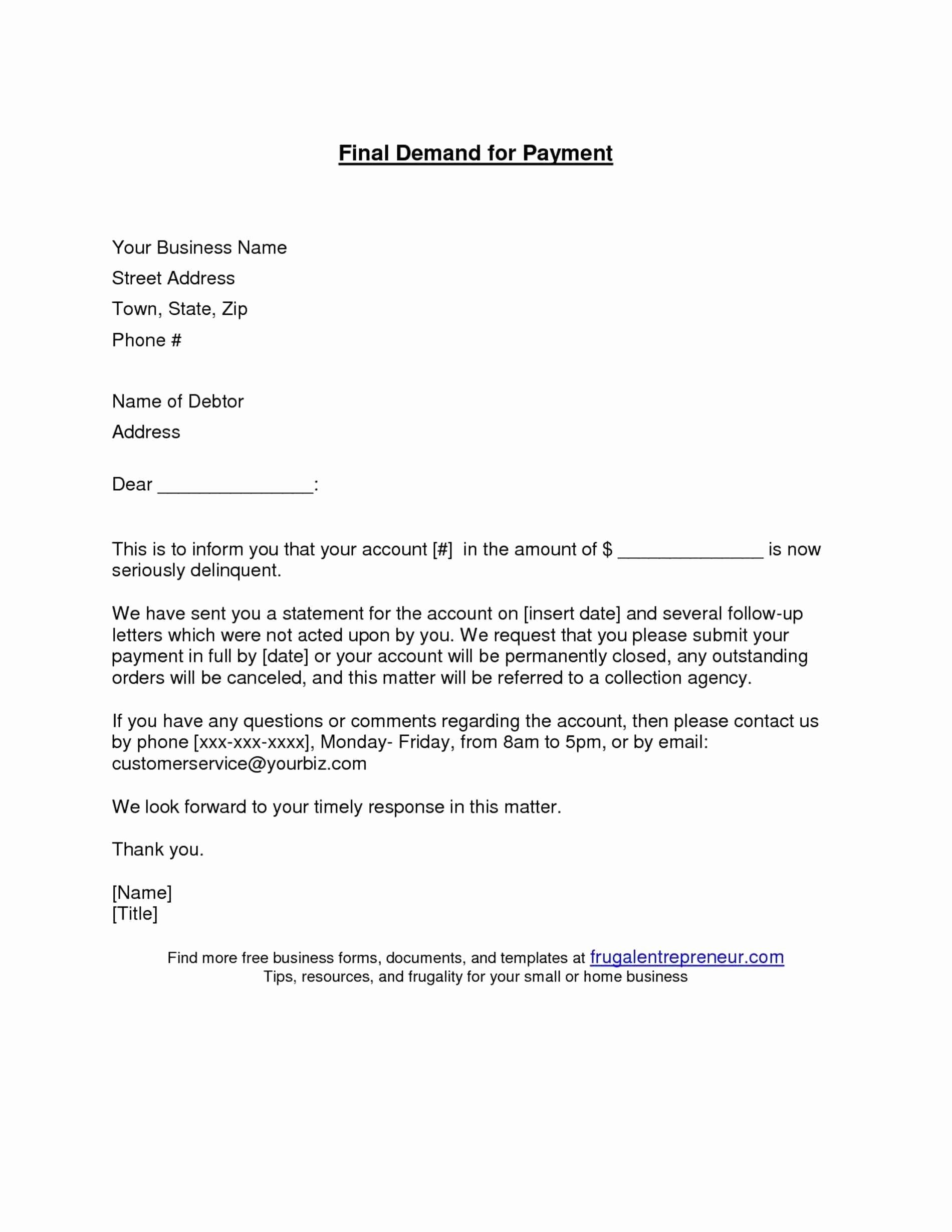 Letter Of Demand Template Unique Outstanding Payment Letter Template Download