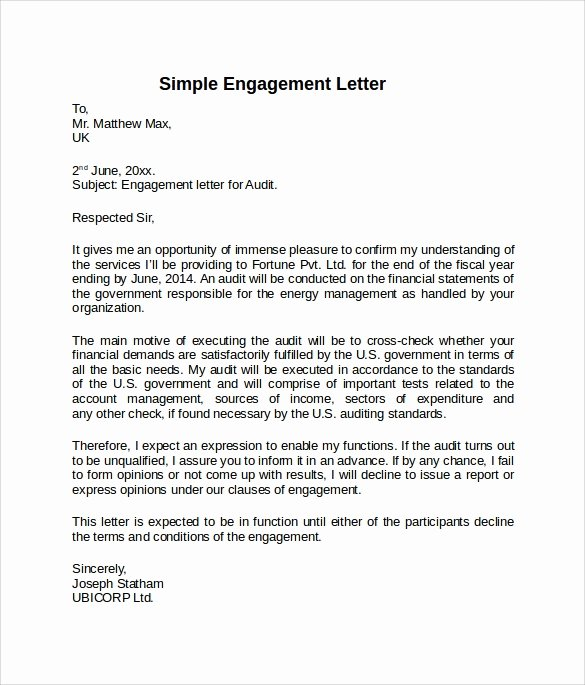 Letter Of Engagement Template Awesome 9 Sample Engagement Letters to Download