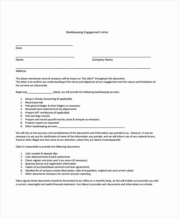 Letter Of Engagement Template Awesome Letter Engagement Template for Bookkeeper Gdyinglun