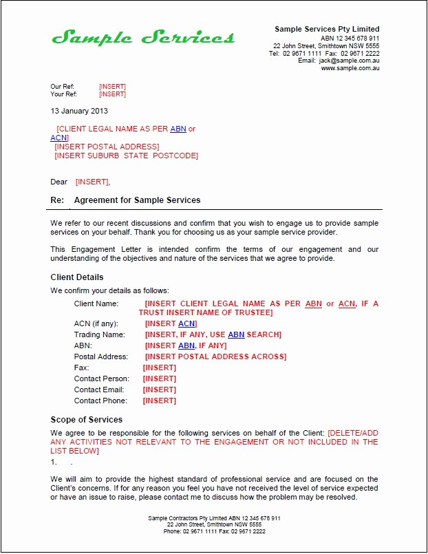 Letter Of Engagement Template Beautiful New Tradesafe Contracts Documentation Overview & Samples