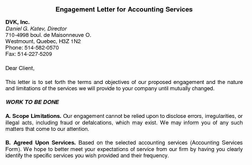 Letter Of Engagement Template Elegant Bookkeeping Engagement Letter Template