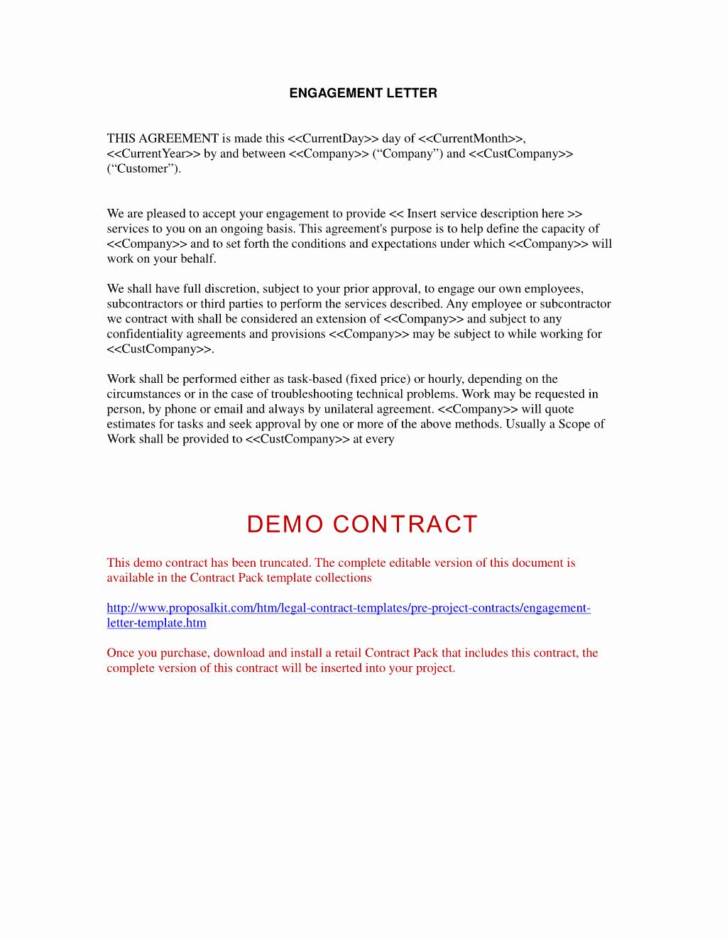 Letter Of Engagement Template Elegant Letter Engagement Letter Sample