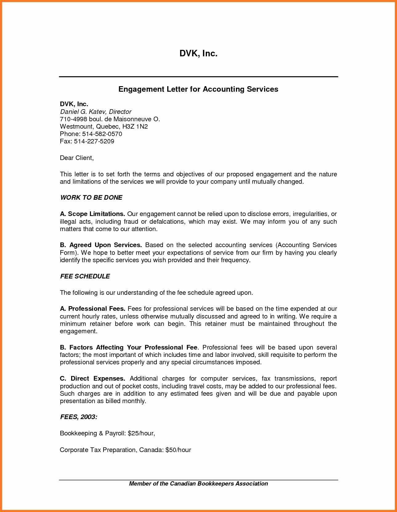 Letter Of Engagement Template Luxury Tax Preparation Engagement Letter Template Samples