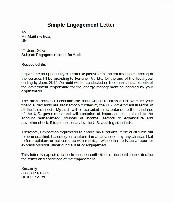 Letter Of Engagement Template New Letter Of Engagement Consulting Template Lovely Letter Of