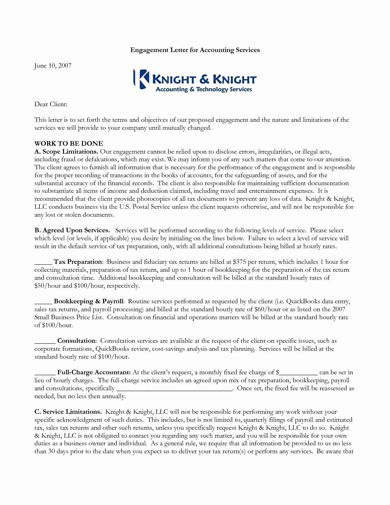 Letter Of Engagement Template Unique Bookkeeping Engagement Letter Template Samples