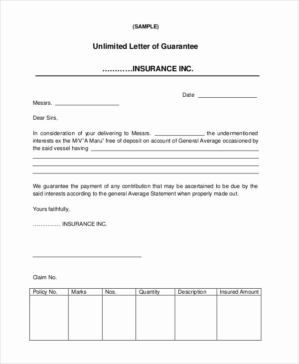 Letter Of Guarantee Template Lovely 54 Guarantee Letter Samples Pdf Doc