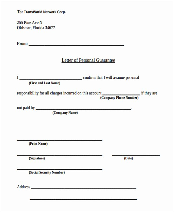 Letter Of Guarantee Template Unique 14 Guarantee Letter Templates Free Word Pdf format