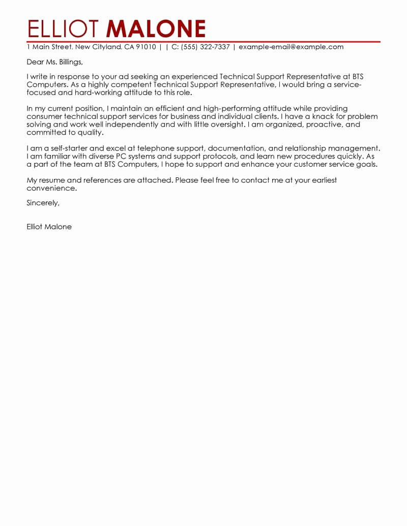Letter Of Support Template Awesome Best Technical Support Cover Letter Examples