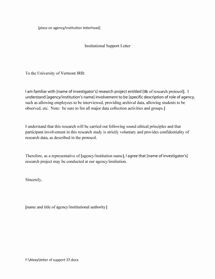 Letter Of Support Template Beautiful 40 Proven Letter Of Support Templates [financial for