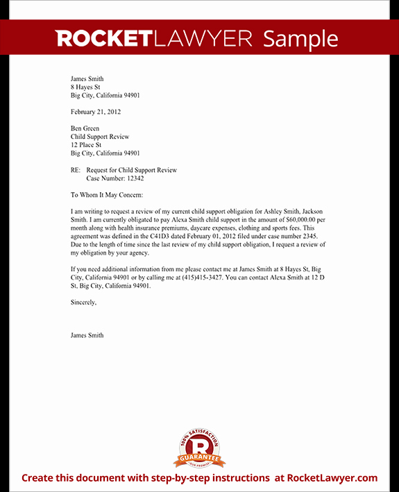 Letter Of Support Template Fresh Child Support Review Letter Request Review with Sample