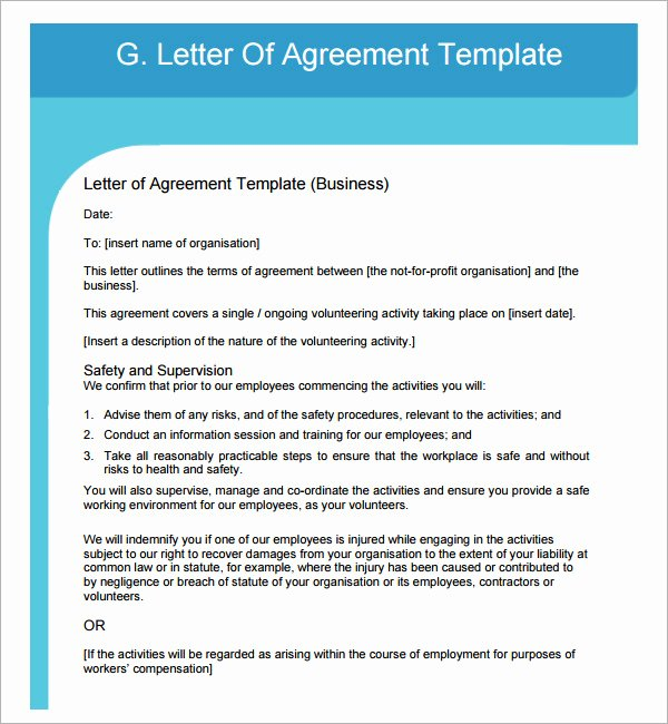 Letter Of Understanding Template Awesome 17 Letter Of Agreement Templates – Pdf Doc