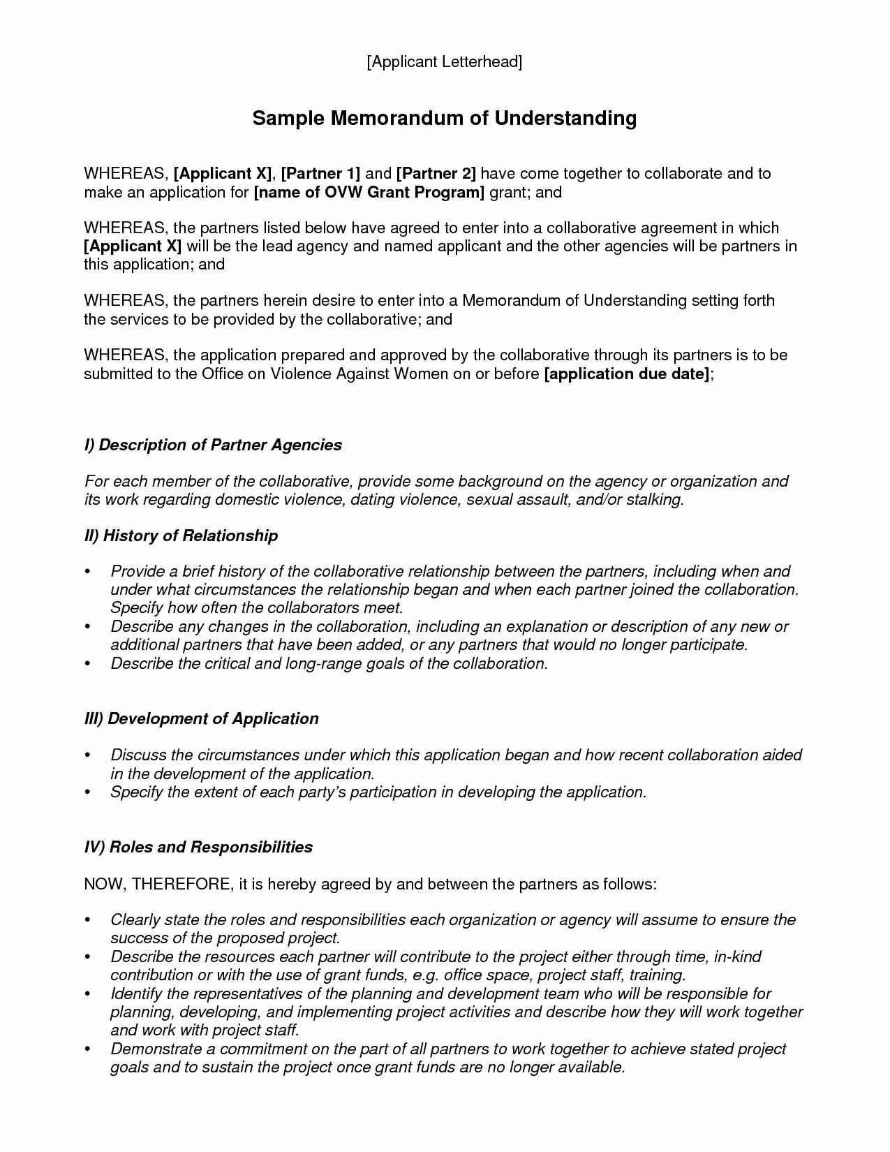 Letter Of Understanding Template Fresh Memorandum Understanding Template