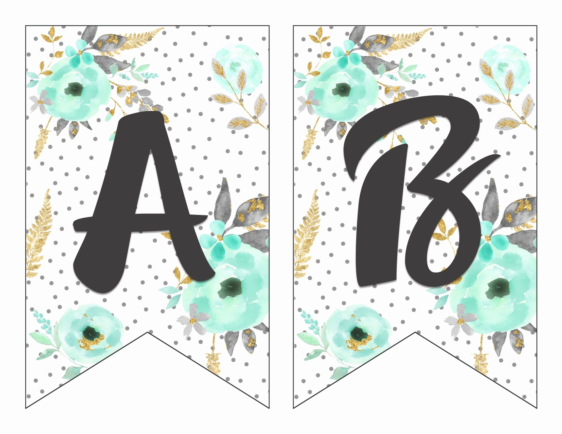 Letter Template for Banners Fresh Free Printable Alphabet Banner Mint& Gold
