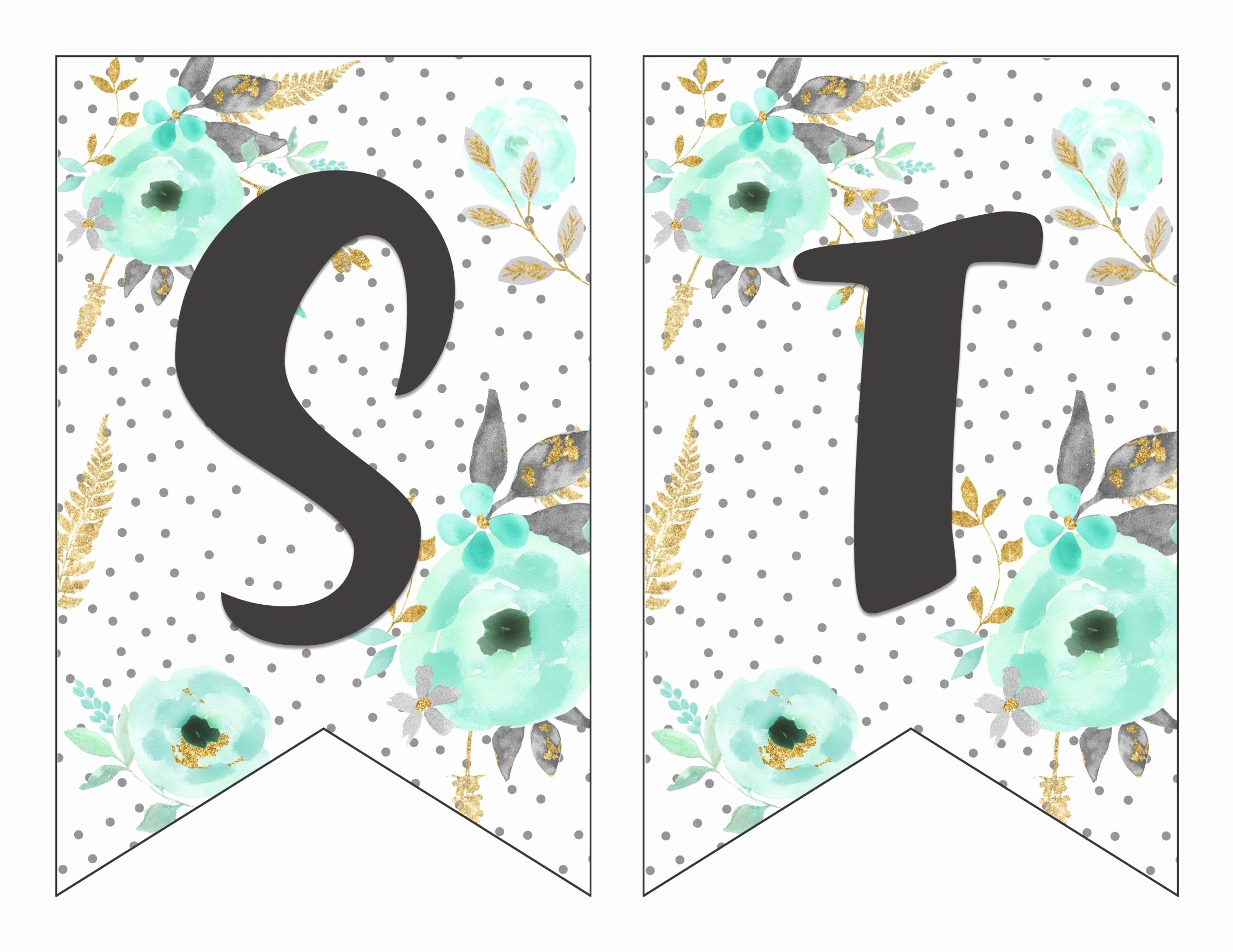 Letter Template for Banners Unique Free Printable Alphabet Banner Mint& Gold