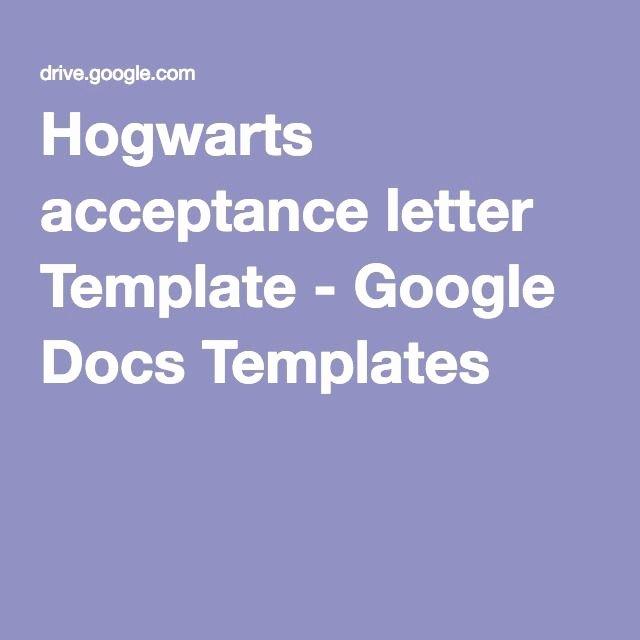 Letter Template Google Docs Lovely Hogwarts Acceptance Letter Template Google Docs