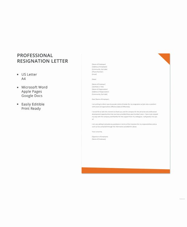 Letter Template Google Docs Luxury 17 Letter Of Resignation Samples – Pdf Word Apple Pages