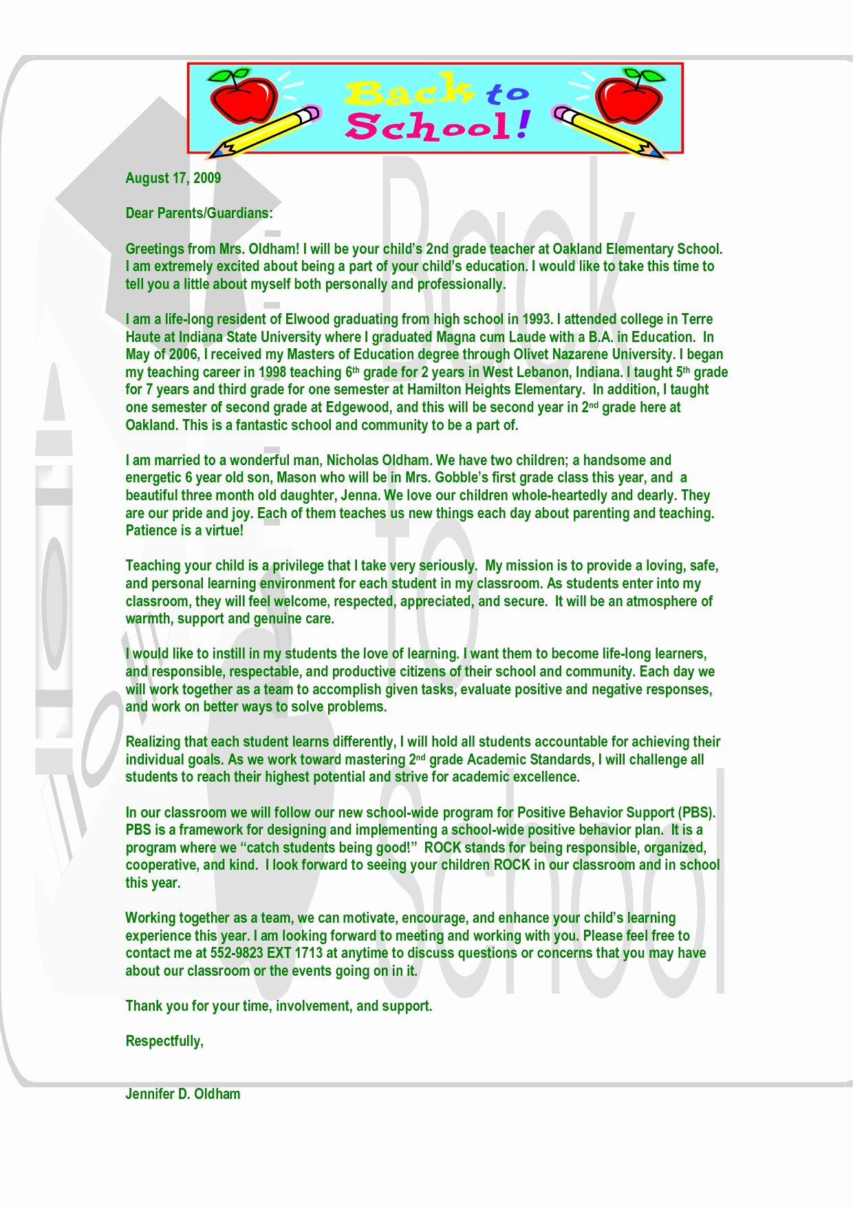 Letter to Parents Template Beautiful Behavior Letter to Parents From Teacher Template Examples