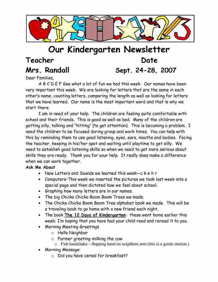 Letter to Parents Template Beautiful Best 25 Kindergarten Newsletter Ideas On Pinterest