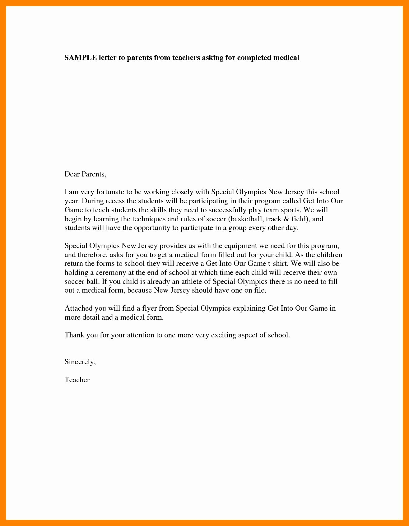 Letter to Parents Template Elegant Preschool Wel E Letter to Parents From Teacher Template
