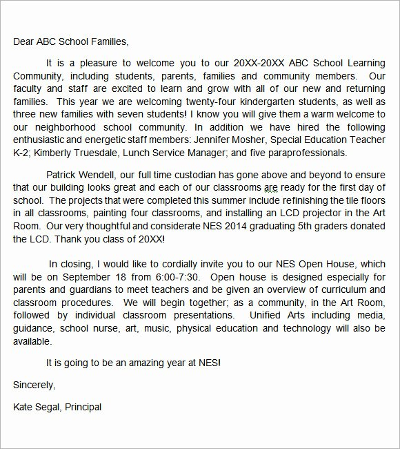 Letter to Parents Template Fresh 7 Sample Wel E Letter Templates