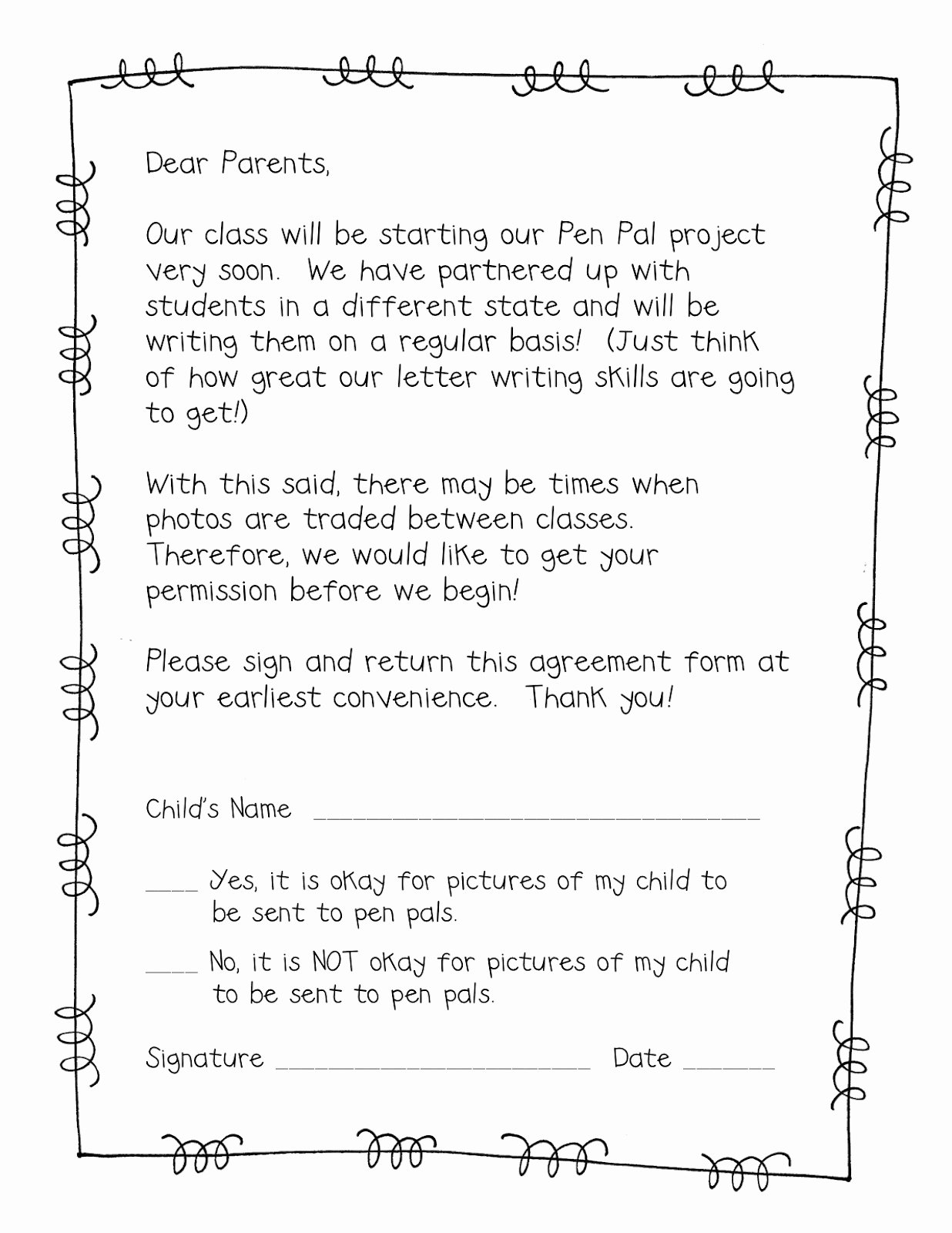 Letter to Parents Template Luxury form Frenzy Pen Pal Freebie Teacher Idea Factory