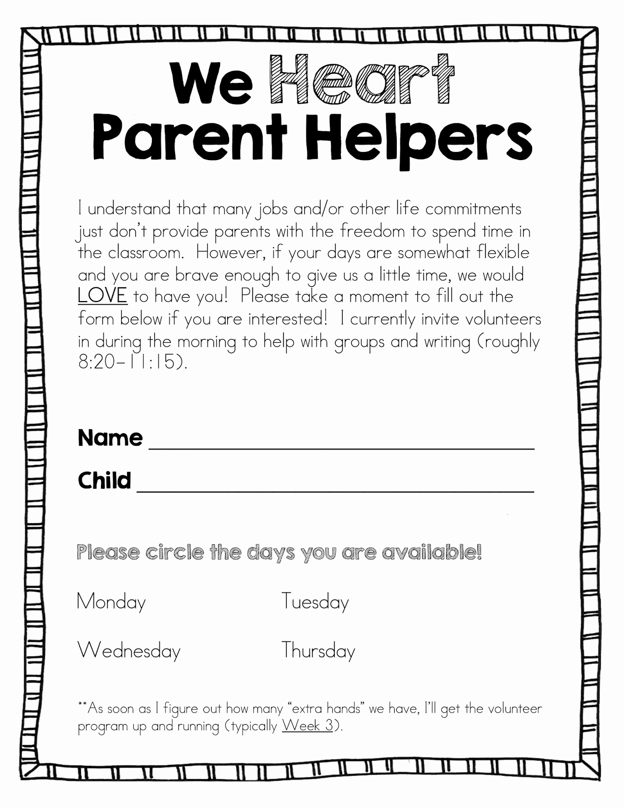 Letter to Parents Template Unique Blog Hoppin All About Parent Volunteers