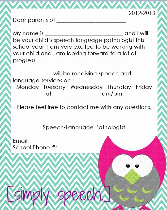 Letter to Parents Template Unique Simply Speech August 2012