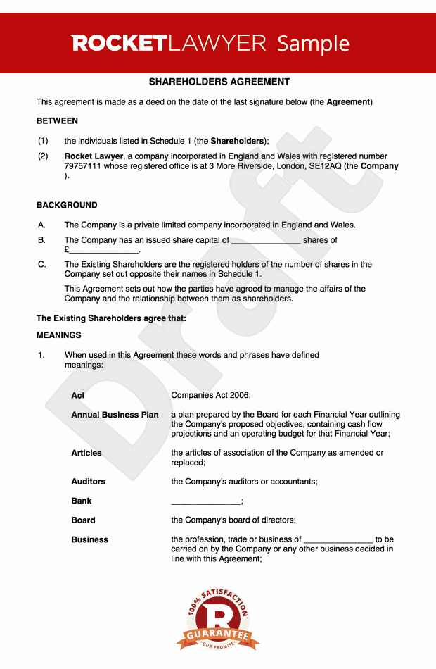 Letter to Shareholders Template Best Of Free Holders Agreement Template Uk