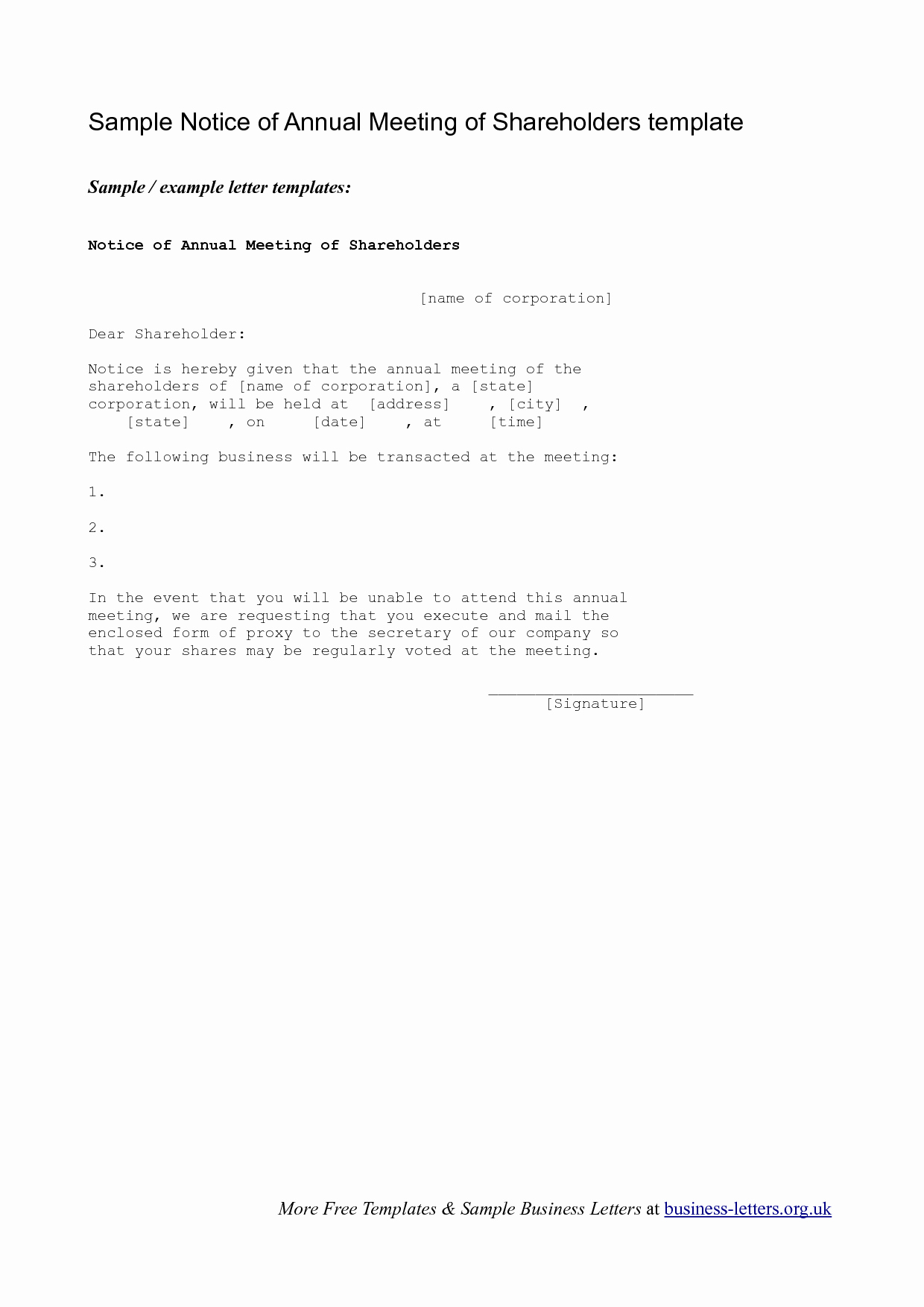 Letter to Shareholders Template Fresh 8 Best Of Holder Meeting Notice Meeting