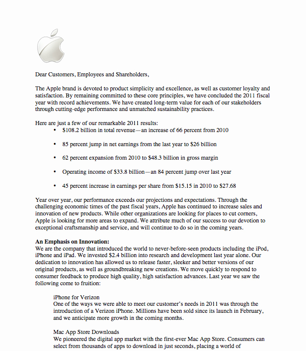 Letter to Shareholders Template Lovely Apple Holder Letter Lauren Osborn S Line Portfolio