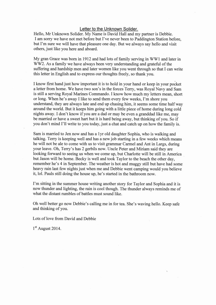Letter to soldier Template Fresh Letters to sol Rs