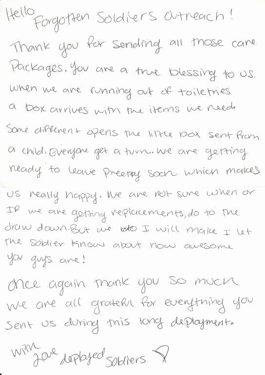 Letter to soldier Template Inspirational forgotten sol Rs Outreach Inc Nonprofit In Lake Worth