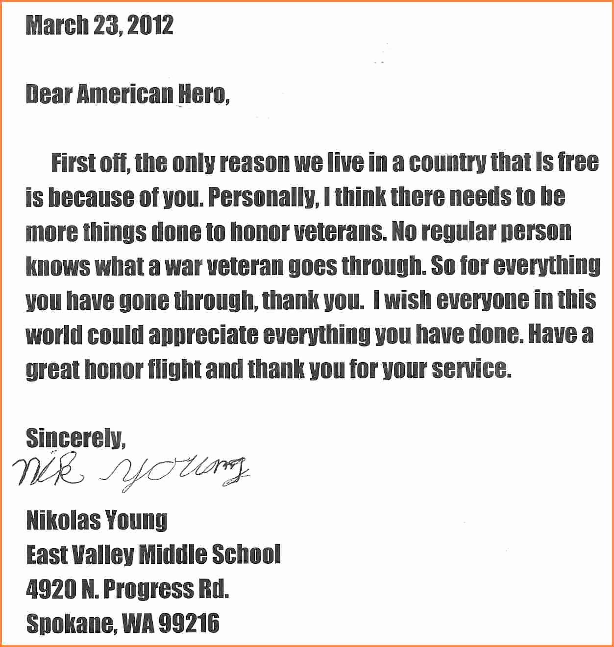 Letter to soldier Template Unique Quote Veterans Day Letter Thank You to Veterans