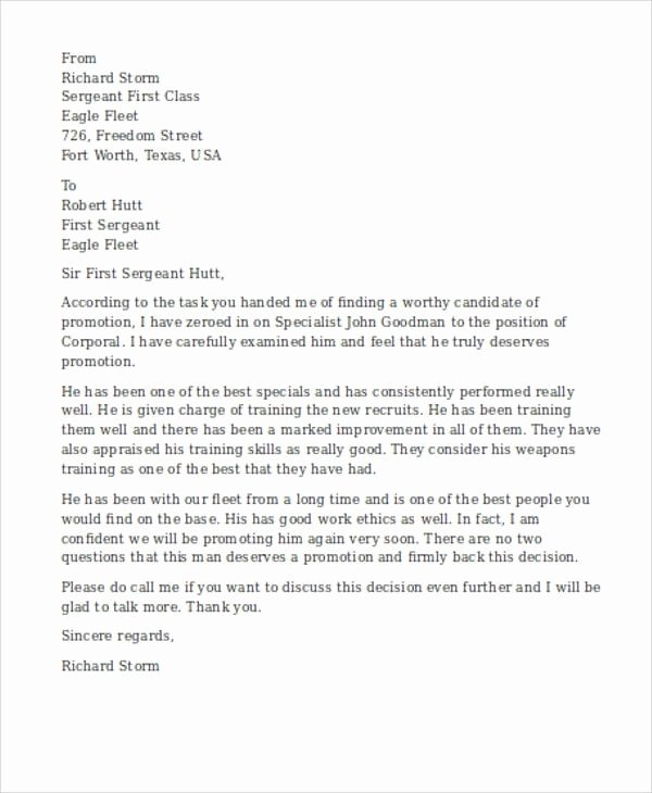 Letter to soldiers Template Inspirational Military Re Mendation Letter Sample Oursearchworld