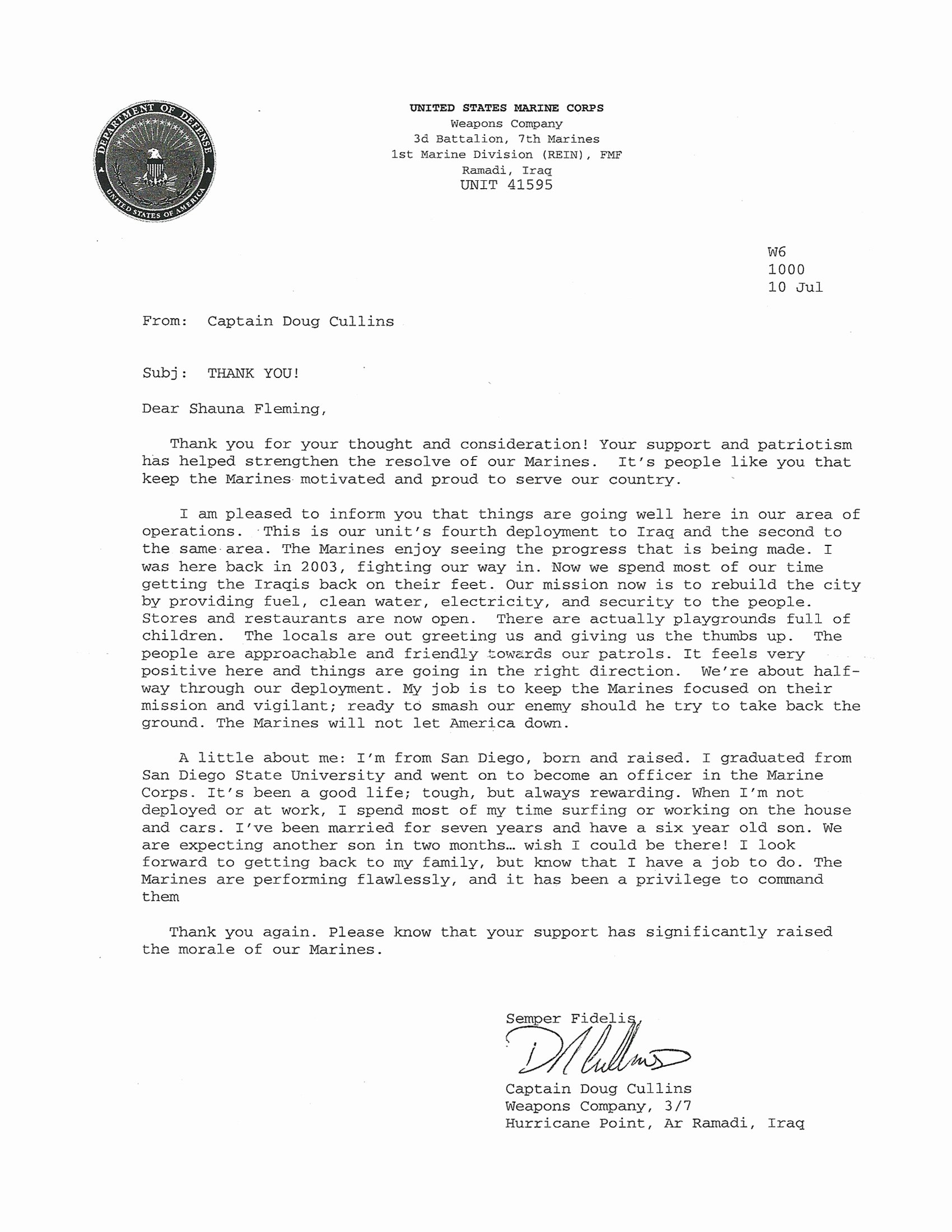 Letter to soldiers Template New A Million Thanks Military Response