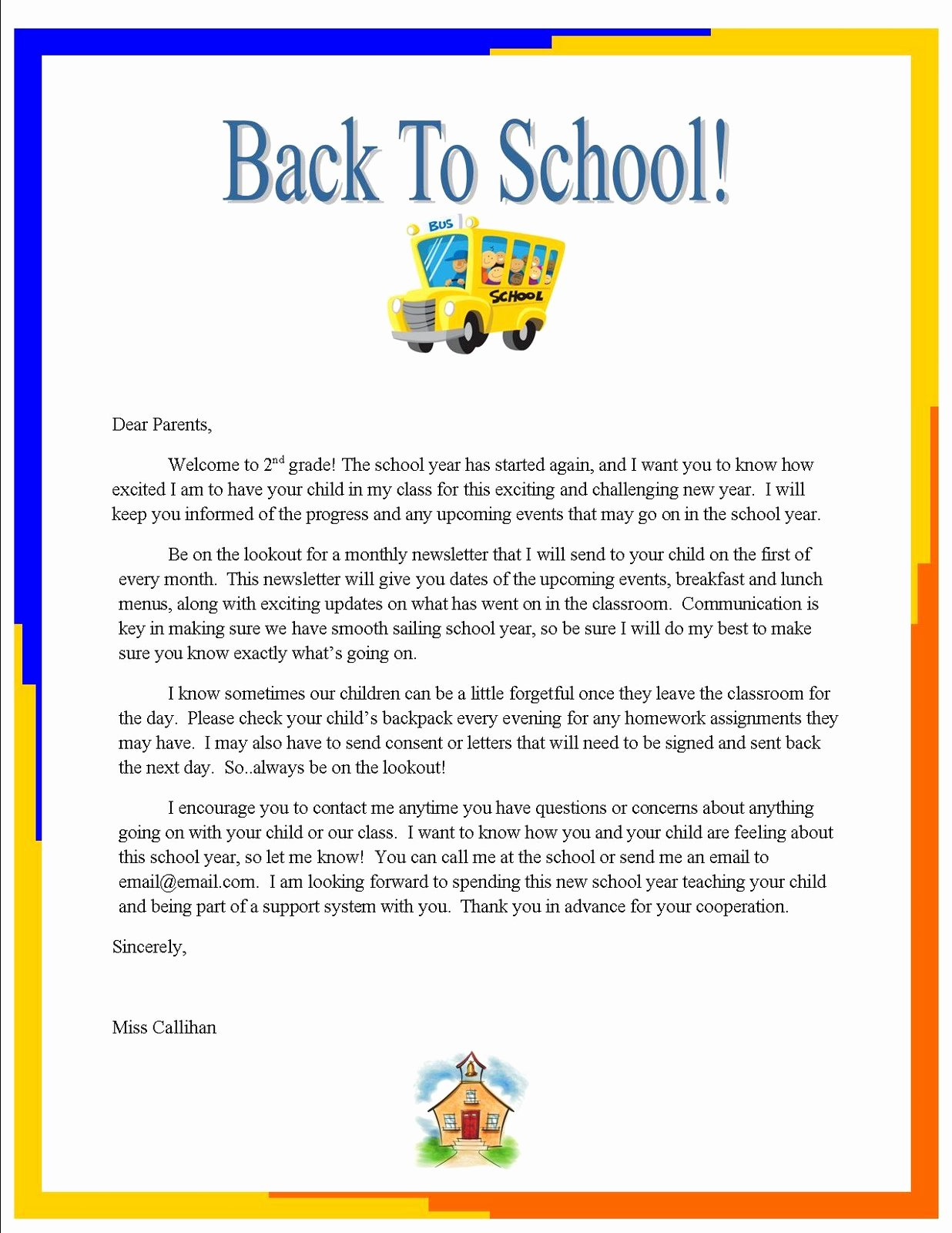 "Letters to Parents Template Elegant Emily S Blog Week 3 ""back to School"" Letter to Parents"