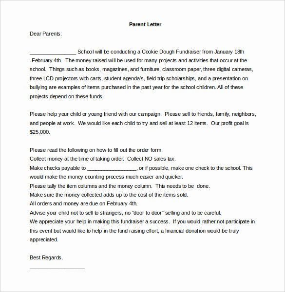 Letters to Parents Template Luxury Fundraising Letter Template – 7 Free Word Pdf Documents
