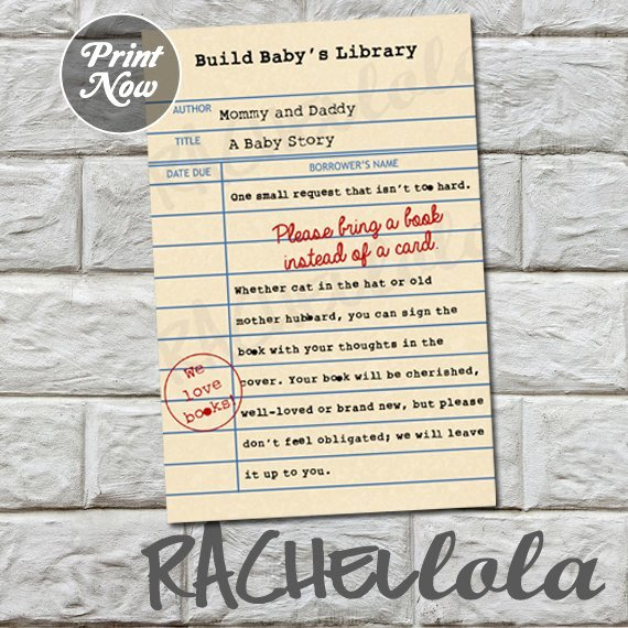 Library Card Invitations Template Elegant Library Card Bring A Book Instead Of A Card Baby Shower