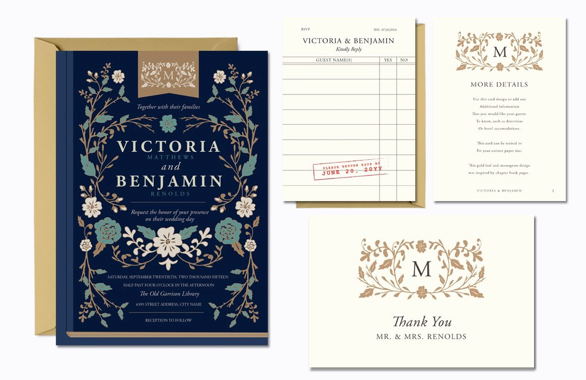 Library Card Invitations Template Fresh Vintage Library Wedding Suite Invitation Templates